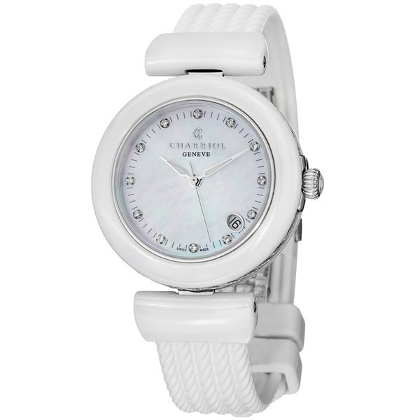 Charriol Women's AE33CW.174.003 'AEL' Mother of Pearl Dial White Ceramic Strap Watch