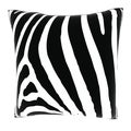 Zebra Black and White 18-inch Velour Throw Pillow