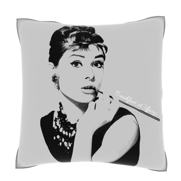 Audrey Hepburn Breakfast at Tiffany's 18-inch Velour Throw Pillow