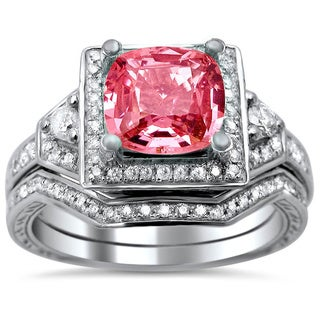 14k White Gold 1/2ct TDW Pink Sapphire and Diamond Engagement Ring Bridal Set (G-H, SI1-SI2)