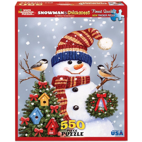 Snowman and Chickadees Puzzle 550 Pieces