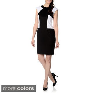 R & M Richards Women's Scuba Colorblocked Sheath Dress