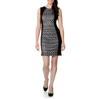 R & M Richards Women's Lace Panel Fabric Mixed Dress