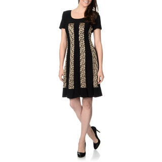 R & M Richards Women's Black and Gold Fabric Mixed A-line Dress