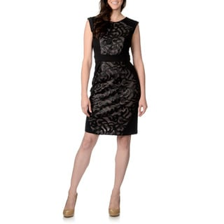 R & M Richards Women's Scuba Fabric Mixed Print Sheath Dress