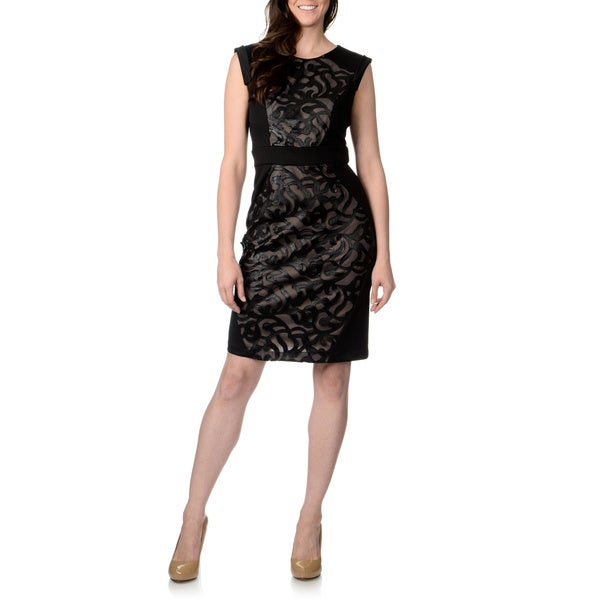 R & M Richards Women's Scuba Fabric Mixed Print Sheath Dress