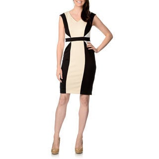 R & M Richards Women's Black and Tan Scuba Colorblocked Dress