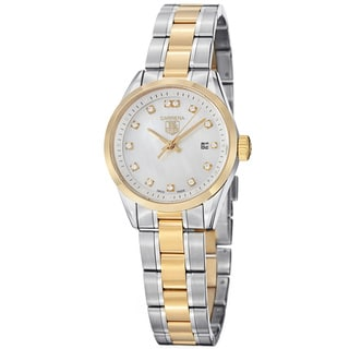Tag Heuer Women's 'Carrera' Diamond Dial Two Tone Steel Watch