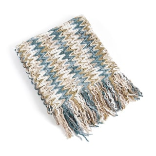 Knitted Chevron Design Throw Blanket