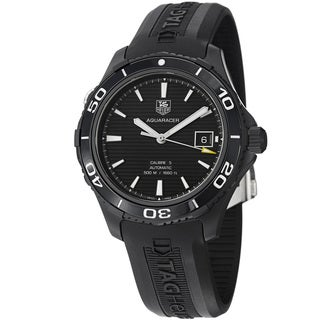 Tag Heuer Men's WAK2180.FT6027 WAK2180.FT6027 'Aquaracer500' Black Dial Black Rubber Strap Watch