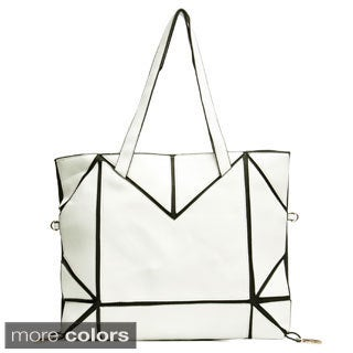 J. Furmani Black and White Patched Faux Leather Tote
