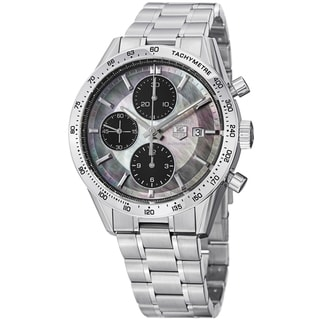 Tag Heuer Men's 'Carrera' Black Mother of Pearl Dial Bralcelet Watch