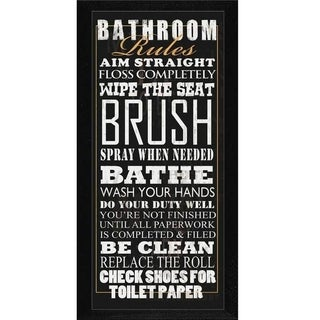 Jim Baldwin 'Bathroom Rules' Framed Wall Art