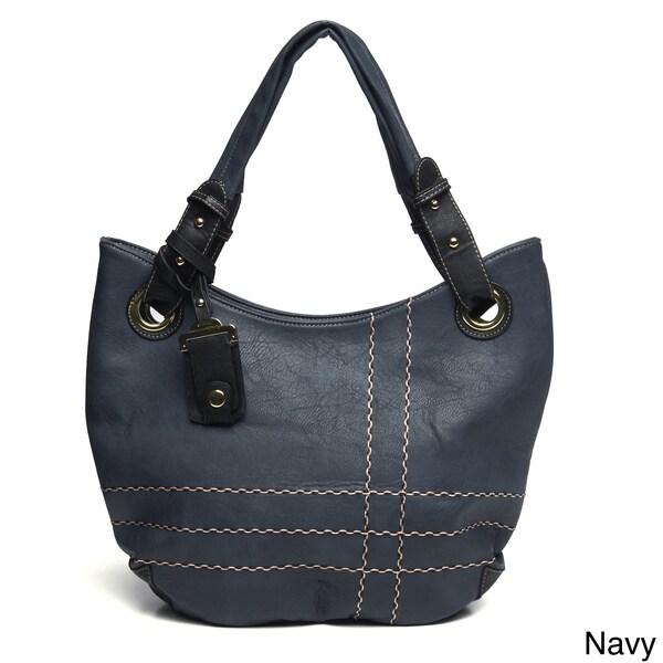 J. Furmani Topstitched Tri-colored Handbag