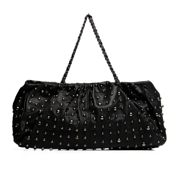 J. Furmani Black Leather Allover Studded Tote Bag