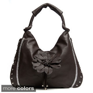 J. Furmani Floral Applique Studded Shoulder Bag