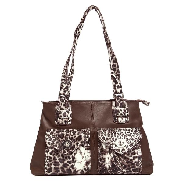J. Furmani Brown Animal-print Trim Double Pocket Tote Bag