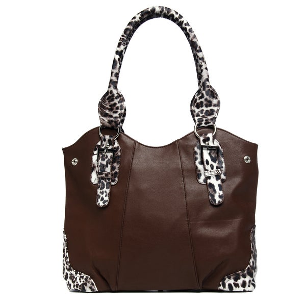 J. Furmani Brown Animal-print Trim Knotted Handle Tote Bag