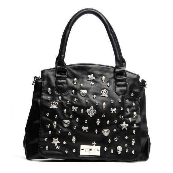 Classic Black Embellished Tote Bag