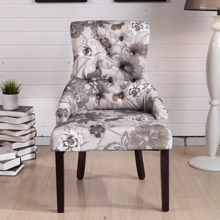 Kantoi Luxury White Grey Floral Dining Chair (Set of 2)
