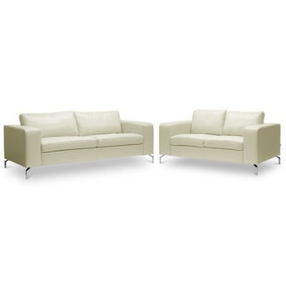 Baxton Studio 'Lazenby' Cream Leather Modern Sofa Set