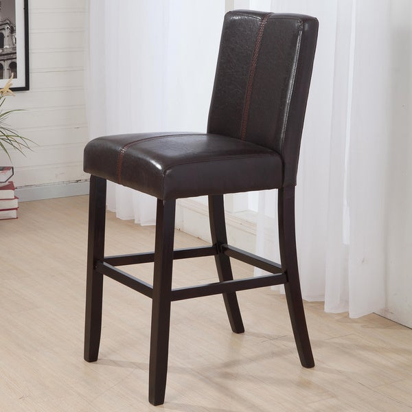 Luxury brown leather weave decor bar stool for Luxury leather bar stools