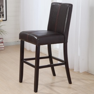 Luxury Brown Leather Weave Decor Bar Stool