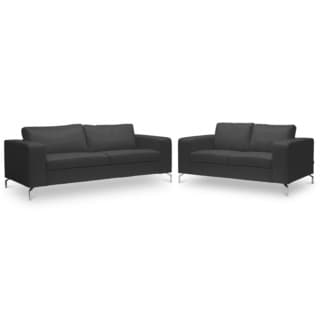 Lazenby Black Leather Modern Sofa Set