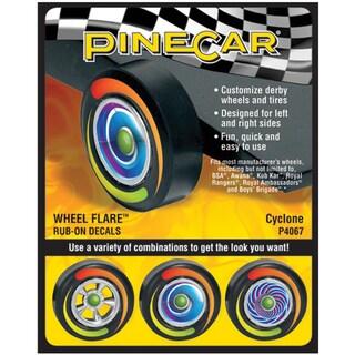 Pine Car Derby Wheel Flare Rub-On Decals-Cyclone