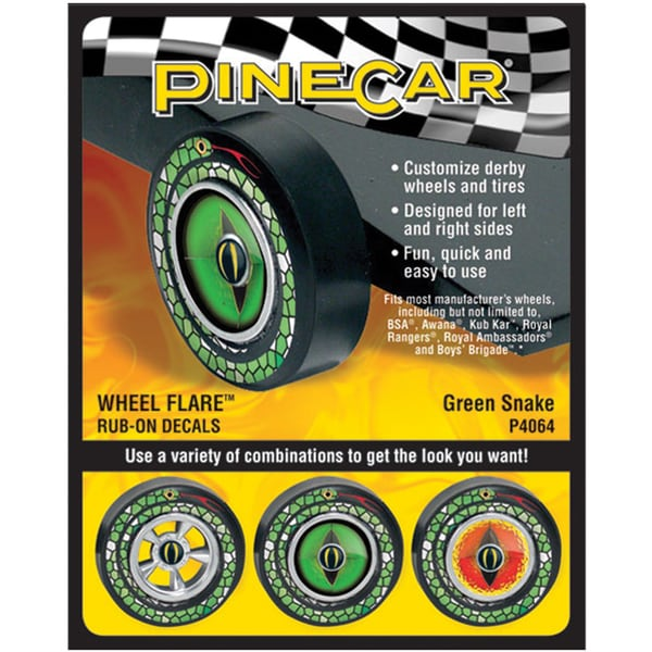 Pine Car Derby Wheel Flare Rub-On Decals-Green