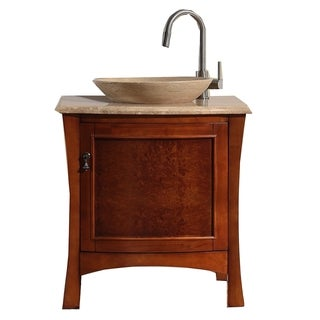 Virtu USA 'Duiberg' 26-inch Antique Honey Cherry Bathroom Vanity Set