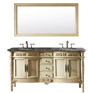 Virtu USA 'Alexandria' 67-inch Antique Ivory Double Sink Baltic Brown Granite Bathroom Vanity Set