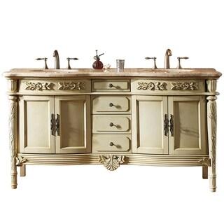Virtu USA 'Alexandria' 67-inch Antique Ivory Double Sink Bathroom Vanity Set with Travertine Granite