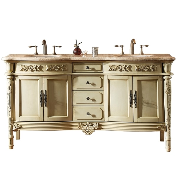 virtu usa alexandria 67 inch antique ivory double sink