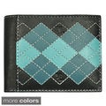 YL Fashion Men's Argyle Leather Bi-fold Passcase Wallet