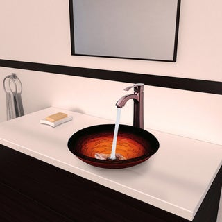 Vigo Magma Glass Vessel Sink and Otis Oil Rubbed Bronze Faucet Set