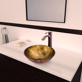 Vigo Copper Shapes Glass Vessel Sink and Otis Oil Rubbed Bronze Faucet Set