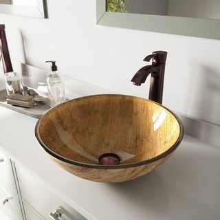 Vigo Amber Sunset Glass Vessel Sink and Otis Oil Rubbed Bronze Faucet Set