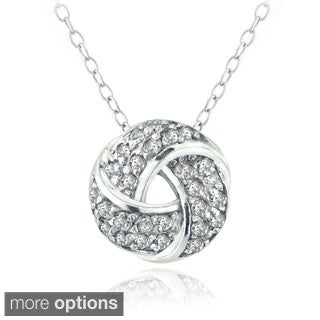 DB Designs Sterling Silver 1/4ct Diamond Love Knot Necklace (H-I, I2)