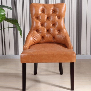 Kantoi Luxury Light Brown Faux Leather Dining Chair (Set of 2)