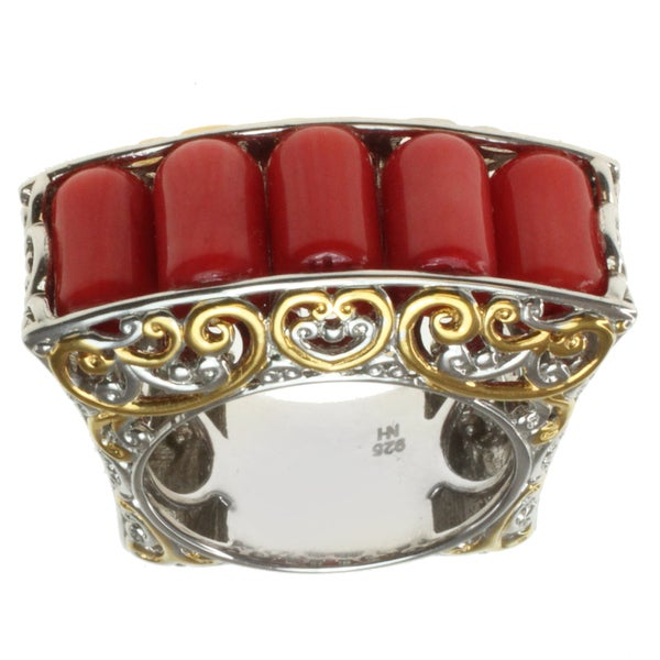 Michael Valitutti Two-tone Red Coral Ring