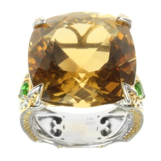 Michael Valitutti Two-tone Citrine and Chrome Diopside Ring
