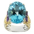 Michael Valitutti Two-tone Swiss Blue Topaz and Amethsyt Ring