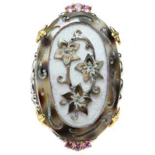 "Michael Valitutti Two-tone Carved Tiger Shell and Pink Sapphire ""Flowers"" Ring"