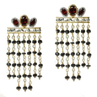"Michael Valitutti Two-tone Garnet and Black Spinel ""Fringe"" Earrings"