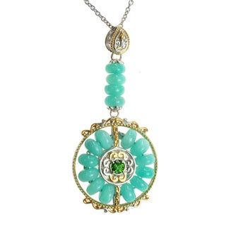 Michael Valitutti Two-tone Amazonite and Chrome Diopside Necklace