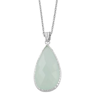 Fremada Sterling Silver Pear-shaped Aqua Chalcedony Necklace