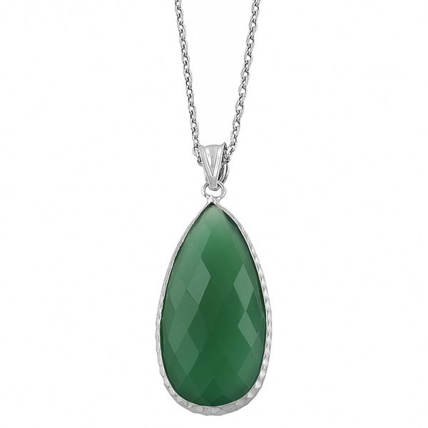 Fremada Sterling Silver Pear-shaped Green Onyx Necklace