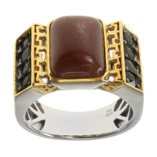 Michael Valitutti Men's Two-tone Sunstone and Black Spinel Ring