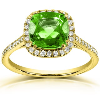 Annello 10k Yellow Gold Peridot and 1/4ct TDW Diamond Halo Ring (H-I, I1-I2)